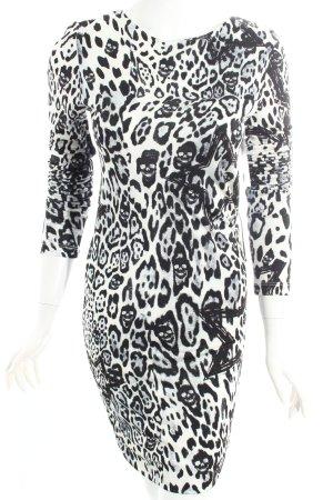 Philipp Plein Langarmkleid weiß-schwarz abstraktes Muster Street-Fashion-Look