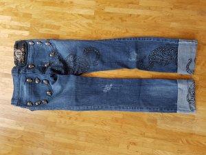 Philipp Plein LIMITED Handmade Rock & Roll Crystal Skull Cougar Denim Jeans