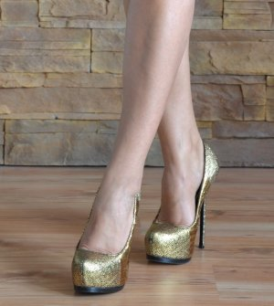 Philipp Plein High Heels gold-colored leather