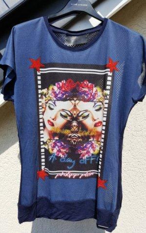 Philipp Plein Netzshirt, Print Shirt/T-Shirt mit Strass Applikation. Gr. S - Hingucker!