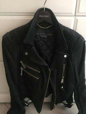 Philipp Plein Veste en cuir noir