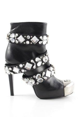 Philipp Plein Reißverschluss-Stiefeletten schwarz-silberfarben Elegant