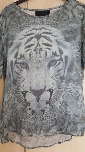 Philipp Plein Camisa tipo túnica gris pizarra-azul pálido