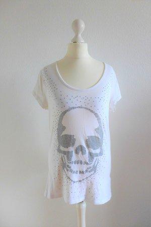 Philipp Plein Shirt Oberteil T-Shirt Nieten Skull Totenkopf weiß Gr. 38 40 (XL)