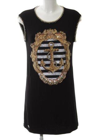 Philipp Plein Shirtkleid schwarz-goldfarben Motivdruck Casual-Look