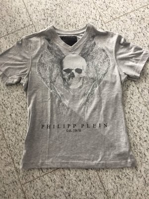 Philipp Plein T Shirt in grau mit Totenkopf