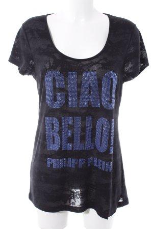 Philipp Plein T-Shirt schwarz Schriftzug gestickt Casual-Look