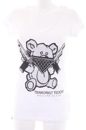 Philipp Plein T-Shirt weiß-schwarz platzierter Druck Glitzer-Optik