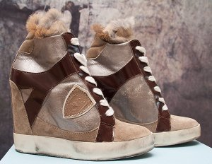 PHILIPPE MODEL Paris LEDER PELZ High Sneaker Keilabsatz SIZE 37