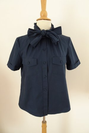 Phillip Lim Blusa collo a cravatta blu scuro