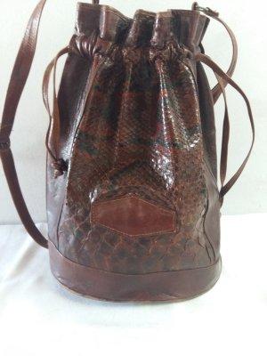 Crossbody bag cognac-coloured reptile leather