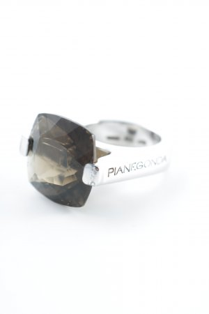 Pianegonda Silver Ring silver-colored-light brown wet-look