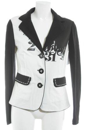 Pianura Studio Jersey blazer wit-zwart abstracte print casual uitstraling