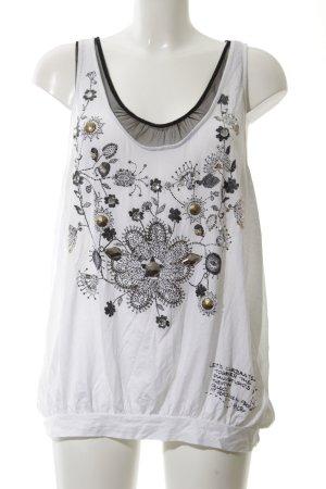Pianura Studio Top long blanc-noir motif de fleur style mode des rues