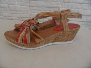 Platform High-Heeled Sandal gold-colored-red leather