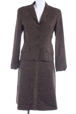 Piazza Sempione Kostüm dunkelbraun-wollweiß meliert Business-Look