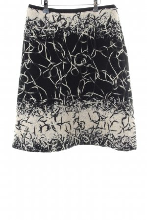Piazza Sempione Wool Skirt black-cream abstract pattern casual look