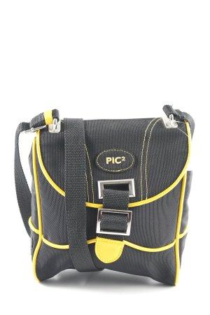 Pic² Borsa a spalla nero-giallo scuro caratteri ricamati stile atletico