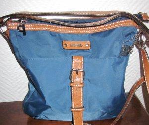 PICARD 2017 Schultertasche Shopper Bag Tasche Beutel blau Leder Aplikation braun Handtasche