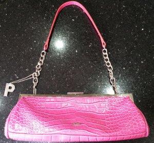 Picard Tasche Clutch pink silber Leder Krokoprägung
