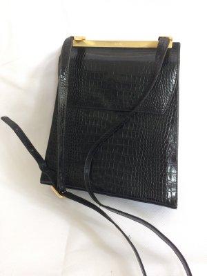 Picard Tasche schwarz gold eckig Rucksack Leder Vintage