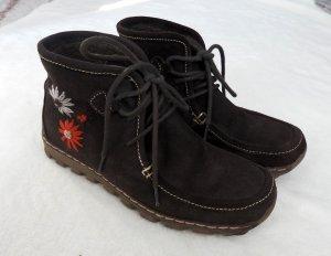 PICNIC Leder Boots Schnürschuhe Echtleder braun Zier-Stickerei Robust bequem 38