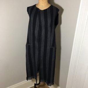 Gilet long tricoté noir-gris foncé laine