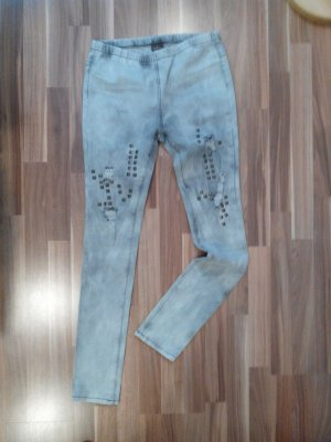 Pieces Bestseller grau nieten destroyed ripped jeggins Gummibund L hip blogger cool