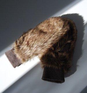 Pieces Guanto di pelliccia multicolore Tessuto misto