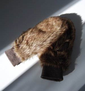 PIECES Braun Kunstpelz Handschuhe