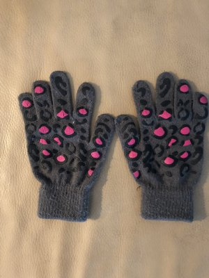 Pieces Handschuhe Strick Leoprint gloves grau pink