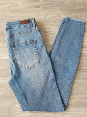 PIECES Highwaist-Jeans, Gr.L, helle Waschung, Skinny-Jeans