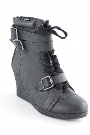 Pieces Keil-Stiefeletten schwarz klassischer Stil
