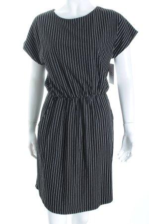 Pieces Kurzarmkleid schwarz-weiß Streifenmuster Casual-Look