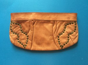 Pieces Leather Brown Clutch