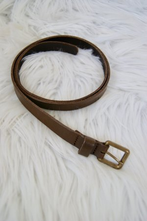 Pieces Leather Belt gold-colored-dark brown leather