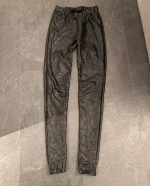 PIECES Leder Leggings Schwarz mit Hosentaschen XS 34