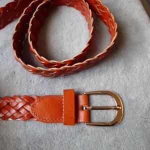 Pieces Cintura intrecciata salmone-arancione scuro Pelle