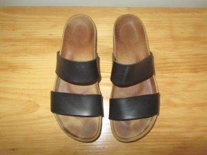 Pieces Plateauzool sandalen zwart Leer
