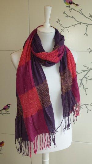 Pieces Écharpe à franges violet-rouge framboise coton