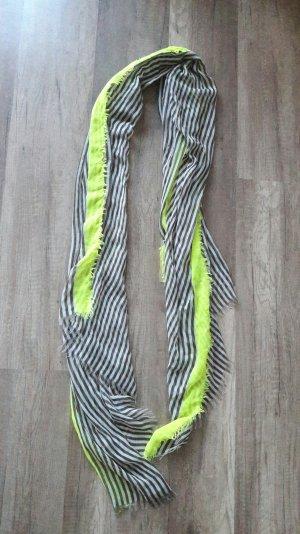 Pieces Schal Scarf Shawl Streifen Khaki Weiß Neon Fransen