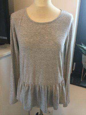 Pieces Schösschen Shirt in grey Melange mit langen Arm