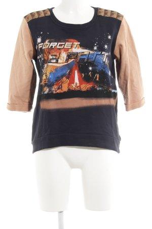 Pieces Sweatshirt anthrazit-nude Motivdruck Street-Fashion-Look