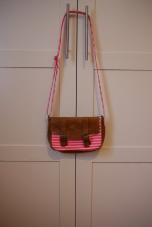 Pieces Tasche crossbody echtes Leder  & pink rosa weiß gestreift