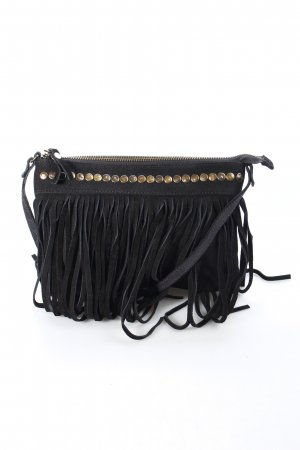 "Pieces Umhängetasche ""Pctaruh Leather Fringe Cross Over Bag"" schwarz"
