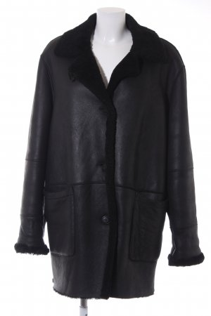 Pielini Leather Coat black casual look
