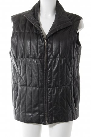 Pielini Leather Vest black quilting pattern masculine look