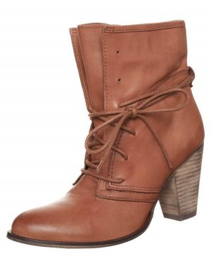 Pier one Lace-up Booties cognac-coloured