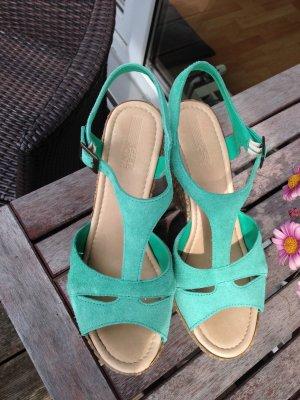 Pier One Schuhe Gr.39 High Heels Wedges Sommer Leder Sandaletten
