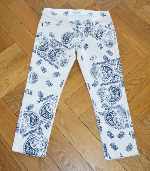 Pierre Balmain 3/4 Length Trousers natural white-dark blue cotton
